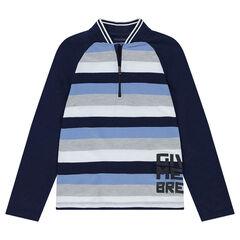Junior - Polo manches longues en jersey avec rayures contrastées et zip