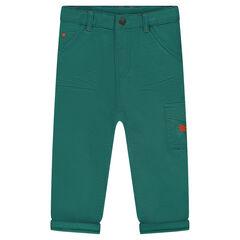 Pantalon en coton fantaisie avec poche à rabat