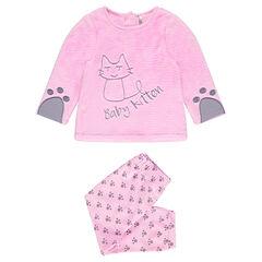 Pyjama long en velours avec chat brodé et ouverture adaptée à l'âge