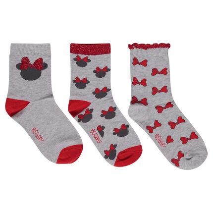 Lot de 3 paires de chaussettes avec serti Minnie ©Disney et noeuds en jacquard