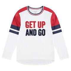 Junior - Tee-shirt manches longues en jersey avec inscriptions en bouclette