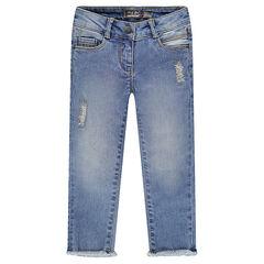 Jeans slim 7/8ème effet used