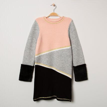 Junior - Robe pull en tricot avec fourrure au bout des manches