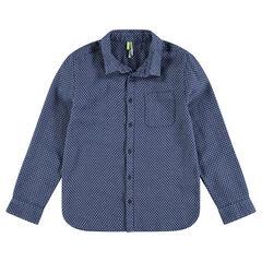 Junior - Chemise manches longues avec micro imprimé et poche