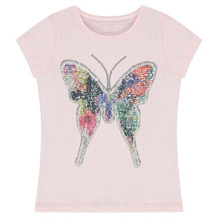 Tee-shirt manches courtes en jersey avec papillon en sequins