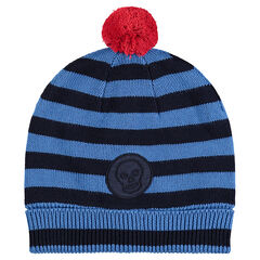 Bonnet en tricot rayé avec pompon et doublure en micropolaire