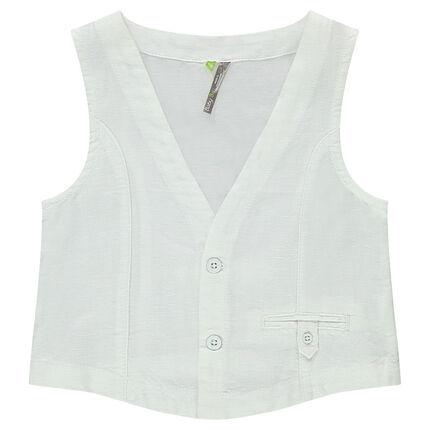 Gilet serveur en lin et coton avec poche passepoilée