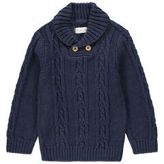 Pull en tricot col châle à jeux de mailles