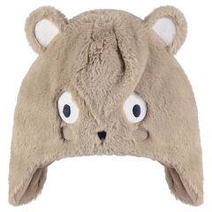Bonnet en sherpa forme ourson avec doublure en sherpa