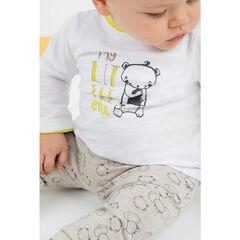 Ensemble avec tee-shirt print ourson et pantalon imprimé all-over