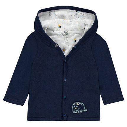 Gilet à capuche en jersey réversible uni/imprimé