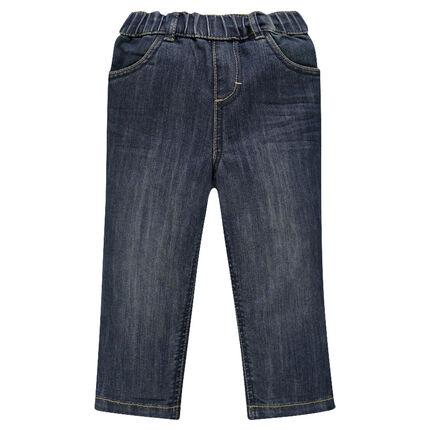 Jeans effet used à taille élastiquée