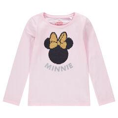 Tee-shirt manches longues avec Minnie ©Disney en sequins magiques