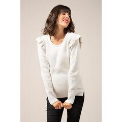Pull en tricot de grossesse avec volants sur les épaules