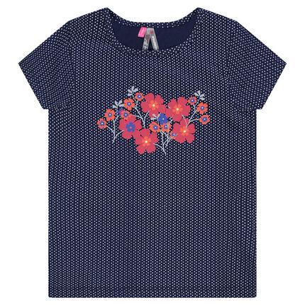 Tee-shirt manches courtes imprimé pois et print fleurs