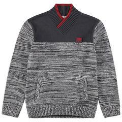 Junior - Pull en tricot fantaisie avec badge en gomme