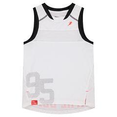 Débardeur en polyester avec inscription printée effet mesh au dos