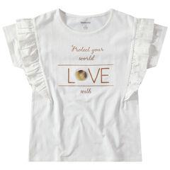 Junior - T-shirt manches courtes volantées avec message doré printé