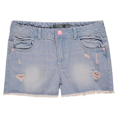 Junior - Short en jeans effet used