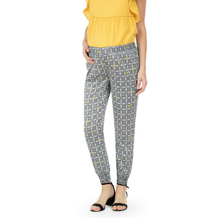 Pantalon de grossesse en crêpe avec imprimé graphique all-over
