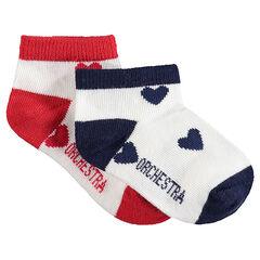 Lot de 2 paires de chaussettes assorties avec coeurs en jacquard