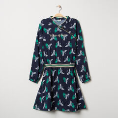 Junior - Robe imprimée oiseaux all-over à col mao