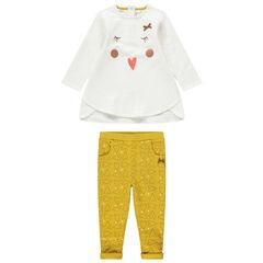 Jogging bicolore à détails printés et pantalon jaune