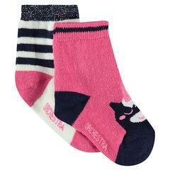 Lot de 2 paires de chaussettes assorties avec motif licorne en jacquard