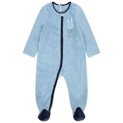 Surpyjama bleu en sherpa zippé avec coeur patché