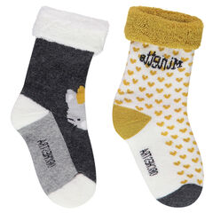 Lot de 2 paires de chaussettes assorties avec coeurs et chat en jacquard