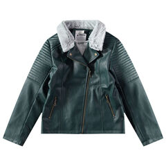 Junior - Pefecto en simili cuir vert doublé sherpa