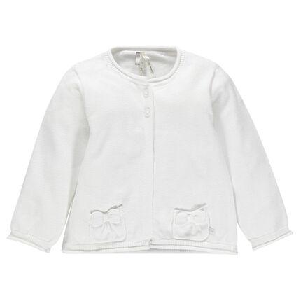 Cardigan en coton uni avec poches noeuds