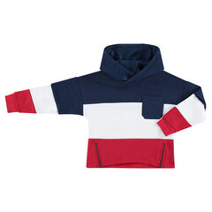 Sweat en molleton tricolore avec poche plaquée et zips sur le devant