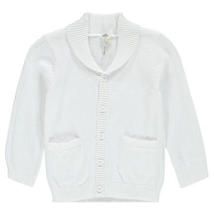 Gilet en tricot uni avec col châle
