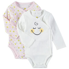 Lot de 2 bodies manches longues en coton bio print Smiley