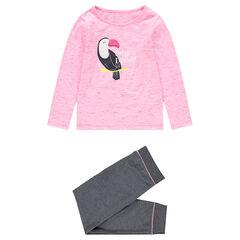 Pyjama en jersey bicolore avec oiseau en sherpa printé devant