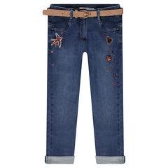 Jeans effet used avec ceinture amovible pailleté et broderies
