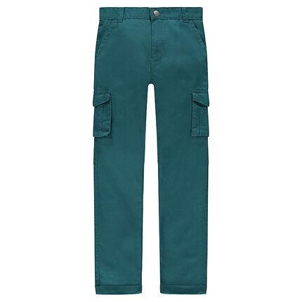 Junior - Pantalon en twill vert avec poches