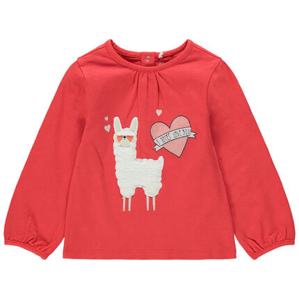 T-shirt manches longues en jersey avec lama en sherpa