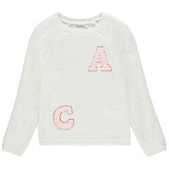 Pull en tricot blanc pour fille avec lettres en sequins  , Orchestra