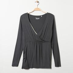 T-shirt manches longues de grossesse et d'allaitement gris , Prémaman