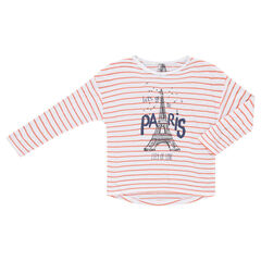 Junior - Tee-shirt manches longues style marinière avec print