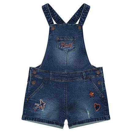 Salopette short en jeans used avec broderies et sequins
