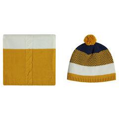Ensemble bonnet et écharpe en tricot avec motifs jacquard