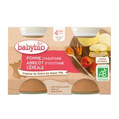 Petit pot pomme abricot et céréale bio - 2x130g , Babybio
