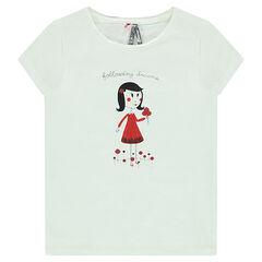 Tee-shirt manches courtes avec print fillette