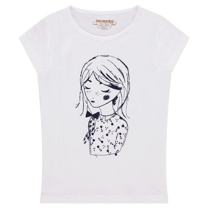 Tee-shirt manches courtes en jersey avec poupée printée