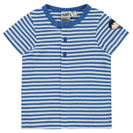 Tee-shirt manches courtes en jersey rayé all-over avec print Superman JUSTICE LEAGUE - CHIBI