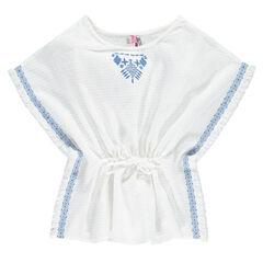Junior - Tunique poncho en coton fantaisie brodé