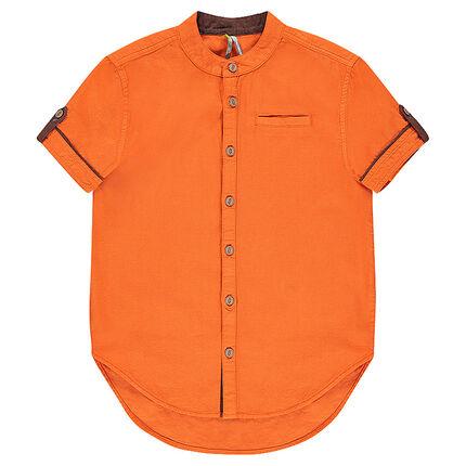 Junior - Chemise manches courtes avec col mao et poche